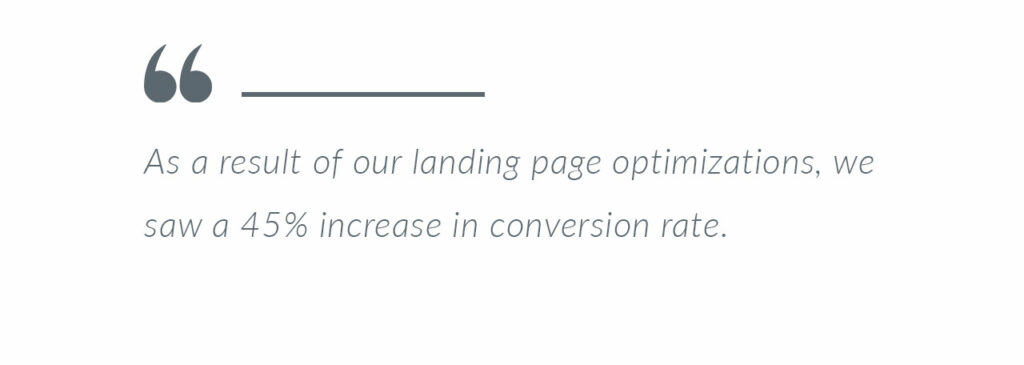 Google Ads landing page conversions increased for medical marketing company blog